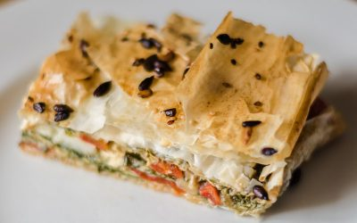 GOATS CHEESE, SUN-BLUSH TOMATO AND ROASTED RED PEPPER SPANAKOPITA