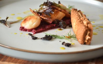 Scallops and beetroot